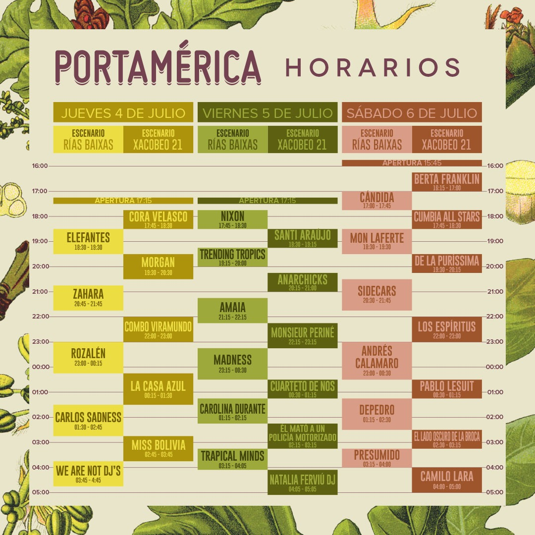 ¡Ya están aquí los horarios de PortAmérica 2019!